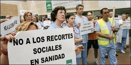 Protestas en la sanidad andaluza por los recortes.