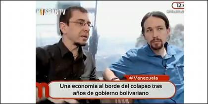 Los prochavistas Monedero e Iglesias.
