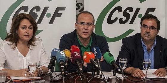 Rosario Delgado, José Luis Heredia y Francisco Iglesias, de CSIF-Andalucía