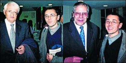 Monedero retratado con catedráticos universitarios.