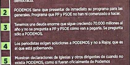 El argumentario de Podemos, una 'joya' literaria.