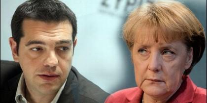 Tsipras y Merkel.