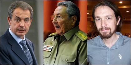 Zapatero, Castro, Iglesias.