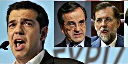 Alexis Tsipras, Andonis Samaras y Mariano Rajoy.