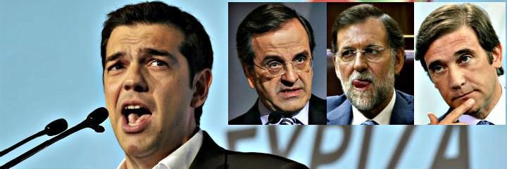 Alexis Tsipras, Andonis Samaras, Mariano Rajoy y Passos Coelho.