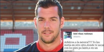Biel Ribas y su captura de Twitter.