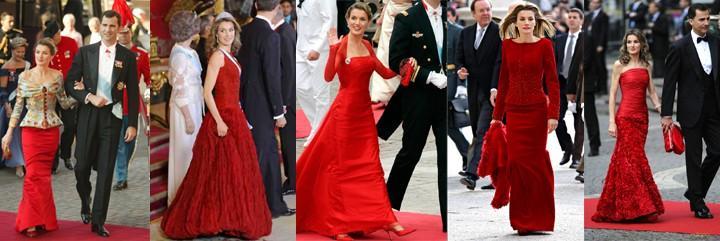 El rojo es inseparable en los vestidos de reina Leticia 'made in' Caprile.