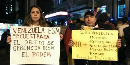 Venezolanos contra el chavismo en Madrid.