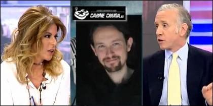 Esther Palomera, Pablo Iglesias y Eduardo Inda.