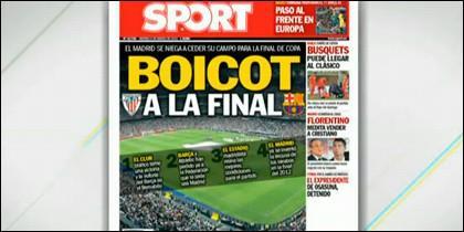 La portada del diario 'Sport'.
