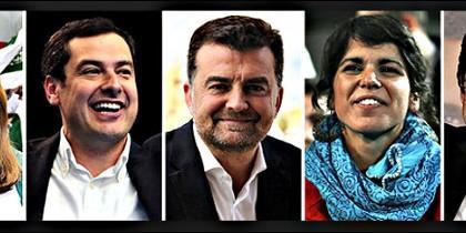 Susana Díaz, Juanma Moreno, Antonio Maillo, Teresa Rodríguez y Juan Marín.