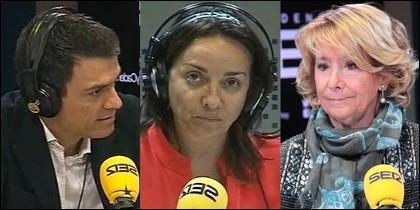 Pedro Sánchez, Pepa Bueno y Esperanza Aguirre.