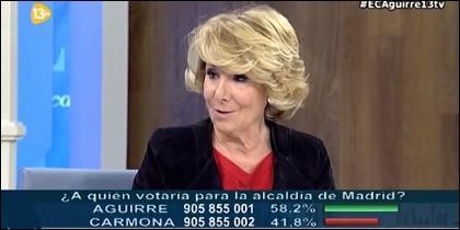 Aguirre, candidata del PP al Ayuntamiento de Madrid.
