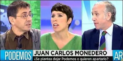 Juan Carlos Monedero, Marta Nebot y Eduardo Inda.