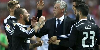 Kroos, Ramos, Ancelotti, Cristiano e Isco.