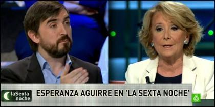 Nacho Escolar y Esperanza Aguirre en 'laSexta Noche'.