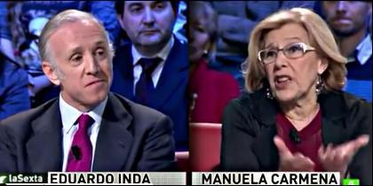 Eduardo Inda y Manuela Carmena.