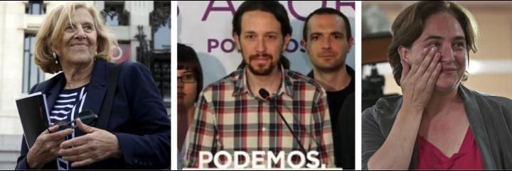 Manuela Carmena, Pablo Iglesias y Ada Colau, los ganadores de estas elecciones locales y autonómicas.