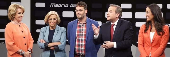 Esperanza Aguirre, a la izquierda y a la derecha Carmona y Villacís.
