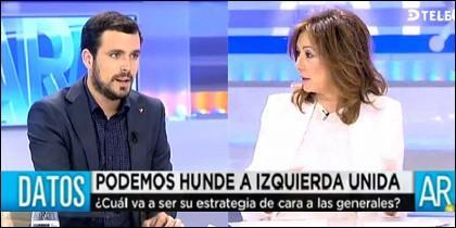 Alberto Garzón (IU) y Ana Rosa Quintana (Telecinco).