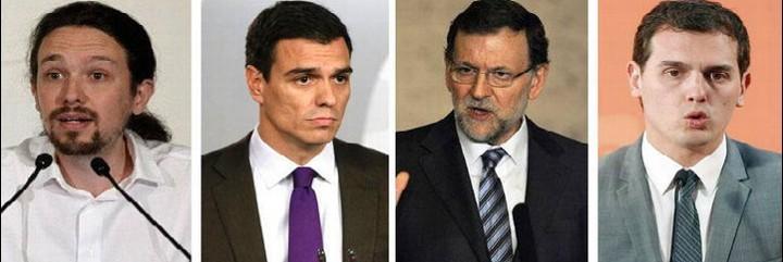 Pablo Iglesias, Mariano Rajoy, Pedro Sánchez y Albert Rivera, candidatos a La Moncloa.