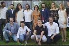 Rodolfo Sancho con el resto de actores de 'Mar de Plástico'