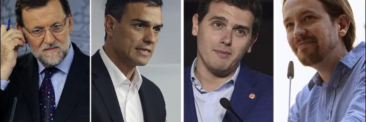 Rajoy (28,2%), Sánchez (24,9%, Rivera (11,1%) e Iglesias (15,7%).