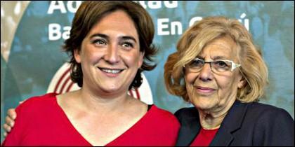 Las alcaldesas de Barcelona y Madrid.