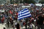 Partidarios de Syriza se manifistan contra la austeridad en Grecia.