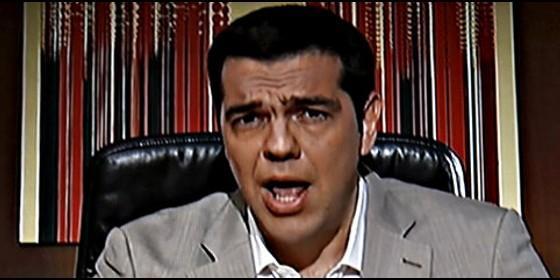Alexis Tsipras, primer ministro de Grecia y líder de Syriza, anuncia el corralito a todos los griegos.