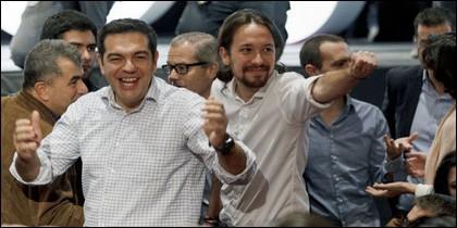 Alexis Tsípras, con Pablo Iglesias.