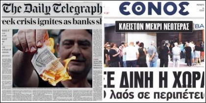 Portadas internaciones sobre Grecia.