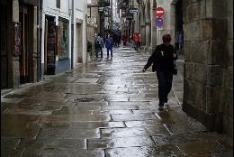 Compostela histórica, al albur de la meteorología.