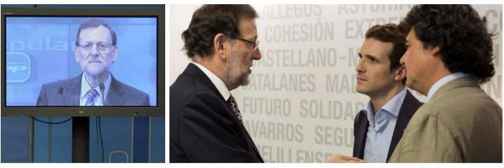Mariano Rajoy, el famoso plasma y charlando con Moragas y Casado.