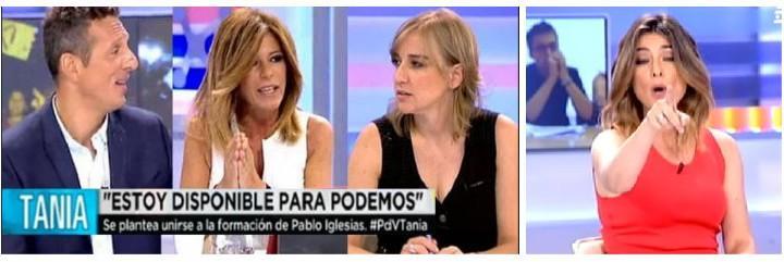 Joaquin Prat, Esther Palomera y Sandra Barneda, entregados a la podemita y ex de Iglesias.