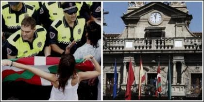 La ikurriña, izada en el Ayuntamiento de Pamplona.