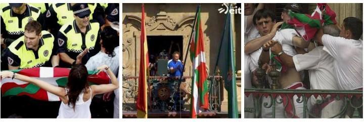 La ikurriña, izada en el Ayuntamiento de Pamplona. 6 julio 2015