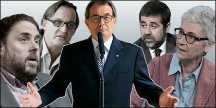 Los lideres de ERC, Oriol Junqueras, de la AMI, Josep Maria Vila d'Abadal; de CDC, Artur Mas; de la ANC, Jordi Sánchez, y de Òmnium Cultural, Muriel Casals.