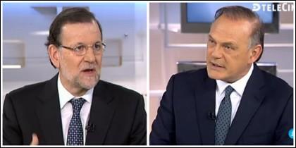 Mariano Rajoy y Pedro Piqueras en Telecinco. 6 julio 2015