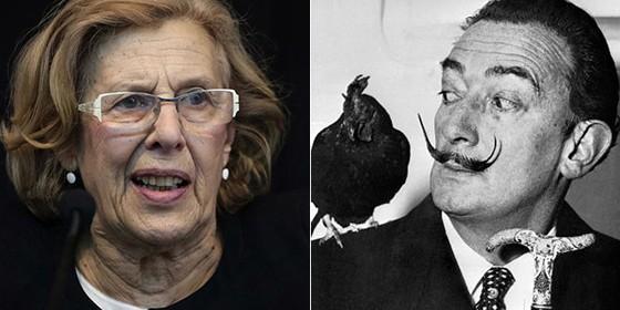 Manuela Carmena y Salvador Dalí.