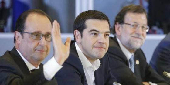 Hollande junto a Tsipras y Rajoy, en la cumbre extraordinaria sobre la crisis helena