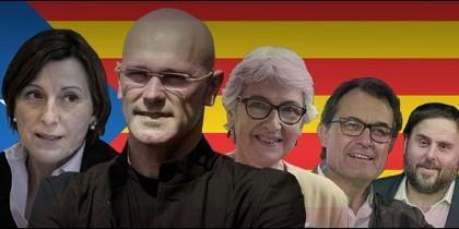 Carme Forcadell (2), Raül Romeva (1), Muriel Casals (3), Artur Mas (4) y Oriol Junqueras (5) encabezarán la candidatura conjunta de CDC y ERC para el 27S.