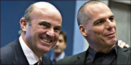 Luis de Guindos con Yanis Varoufakis.