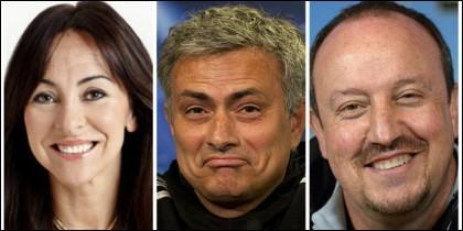 Carme Barceló, José Mourinho y Rafa Benítez.