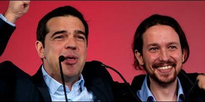 Alexis Tsipras y Pablo Iglesias.