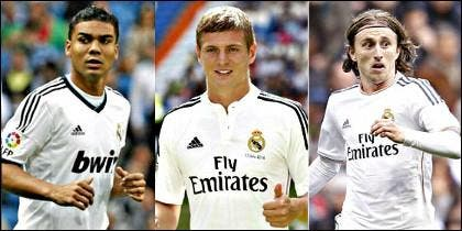 Casemiro, Kroos y Modric.