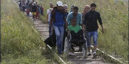 Inmigrantes ilegales pasan andando desde Serbia a Hungría.