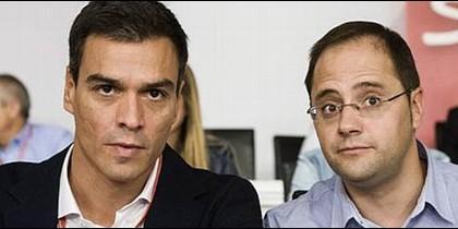 Pedro Sánchez y César Luena.