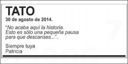 La conmovedora esquela publicada en El País.