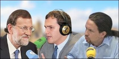 Mariano Rajoy, Albert Rivera y Pablo Iglesias.